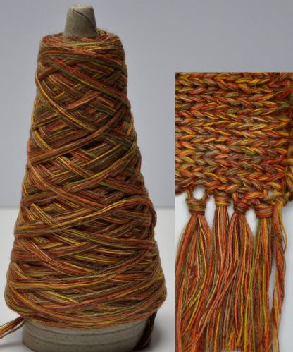 Rust-Ochre-Mustard Chunky Multi-coloured Chunky Cotton-Linen yarn multiple untwisted ply's
